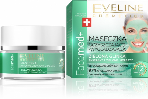 Eveline Cosmetics Maseczka Oczyszczająco – Wygładzająca Zielona Glinka Facemed+